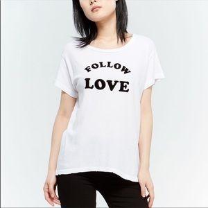 Current / Elliott White follow love T-shirt Sz 2 M